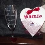 flute en verre gravure pour ma mamie d'amour et carte forme coeur mamie