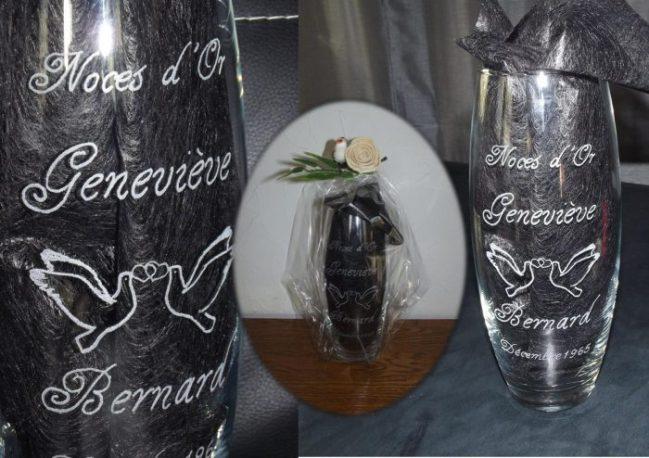 vase gravure noce d'or prenoms personnalisés colombe coeur