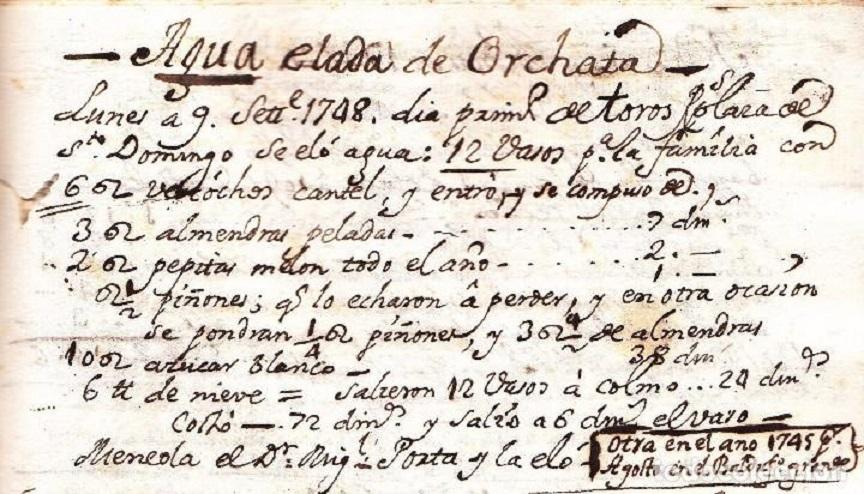 Sale a la venta el manuscrito de la primera receta de horchata de la historia por 38.000 €