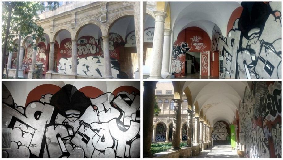 """La intervención de """"arte urbano"""" de PichiAvo en el claustro del Centre del Carme crea polémica"""