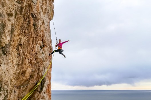 Amanda climbing with us the route Diedro UBSA(V+, 250m) in Peñon d'Ifach (Calpe, 2018).