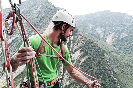 Our guide on a multi-pitch route in the Pyrenees.