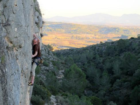Carlos climbing in Barranco Fondo.