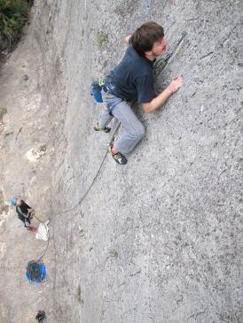 Jakob climbing in Barranco Fondo in 2013.