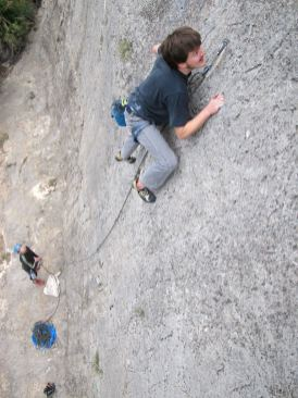Jakob climbing in Barranco Fondo in 2013.