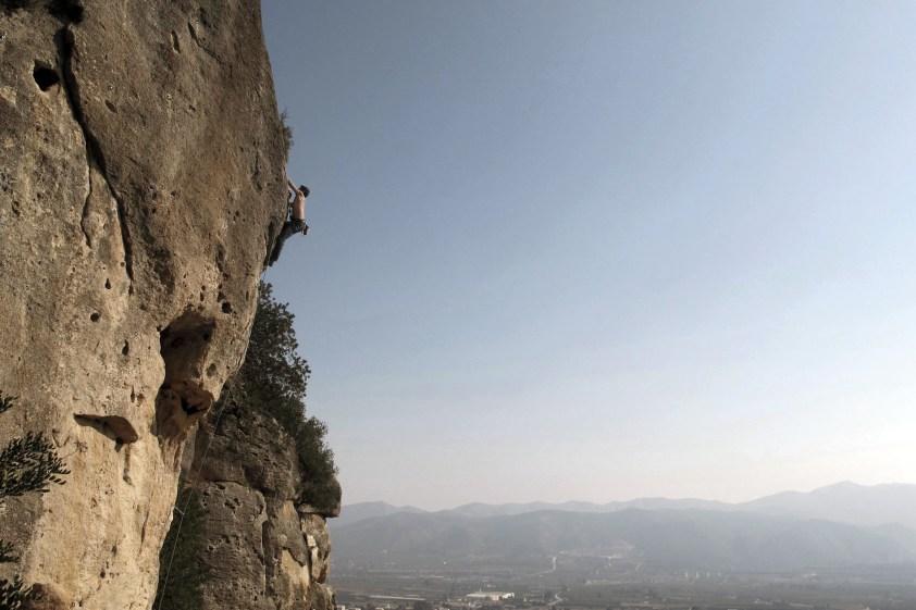 Nacho climbing in Montesa.