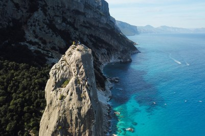 Climbing Aguila Goloritzè in Sardinia.