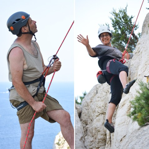 Yves and Carole climbing in Calanques, Marseille.