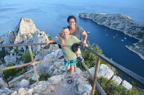 Yves and Carole hiking in Calanques, Marseille.