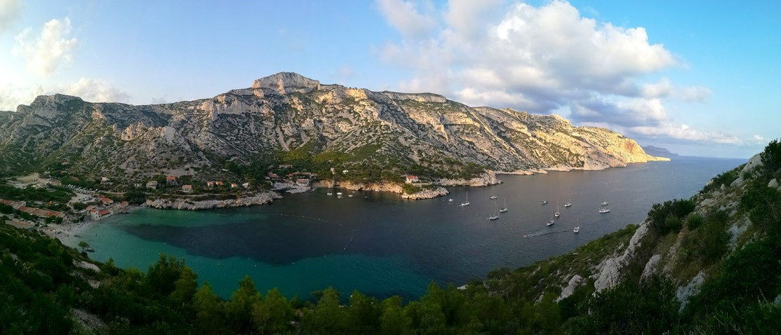 Sunset at Calanque de Sormiou, Marseille.