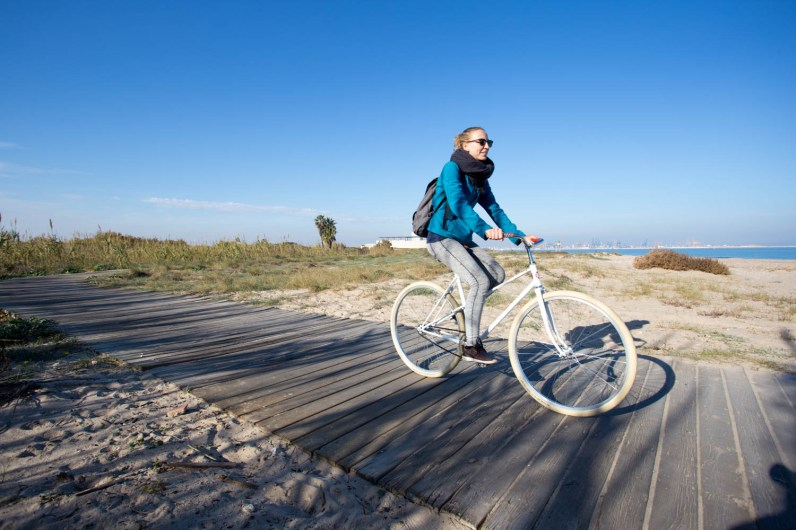 Biking in la Albufera Natural Park.
