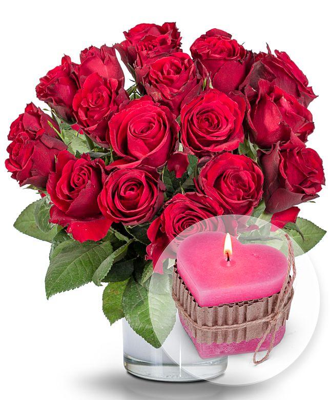 18 rote Rosen und HerzKerze  jetzt bestellen bei