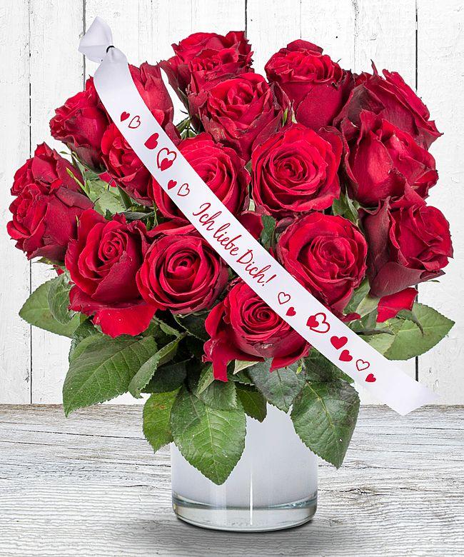 18 rote Rosen und Schleife Ich liebe Dich  jetzt