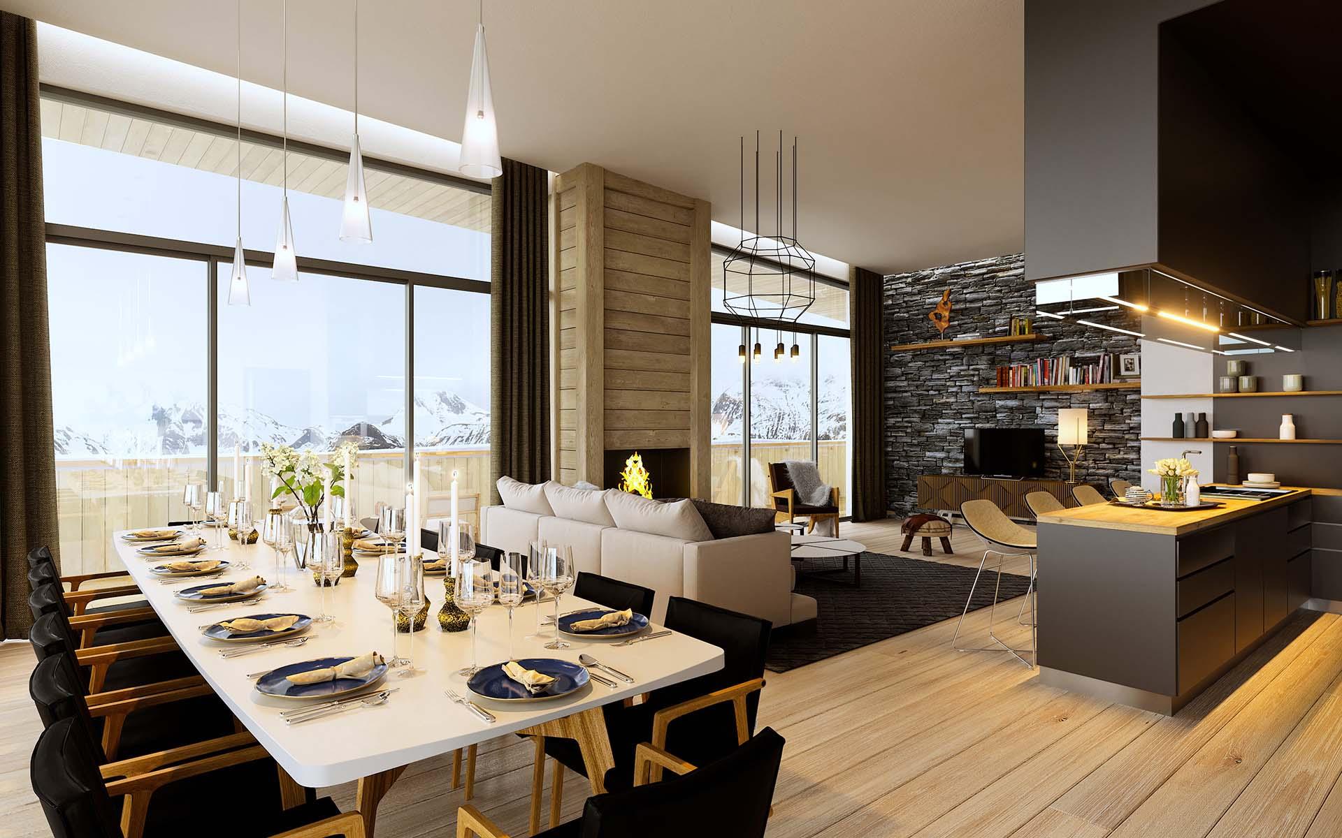 Graphisme 3D  Vue en perspective salon luxe