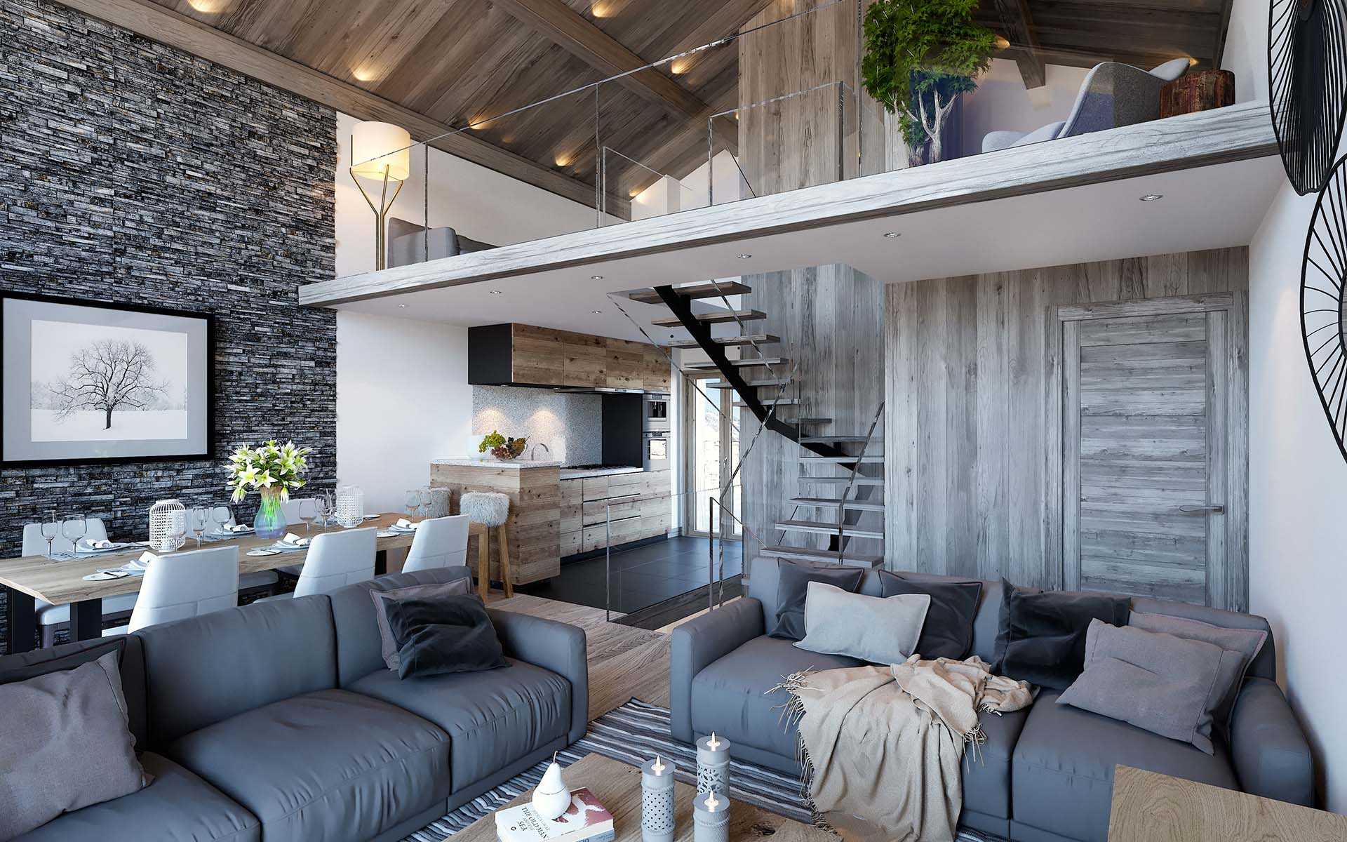3D Perspective apartment luxury Chamonix 3D studio