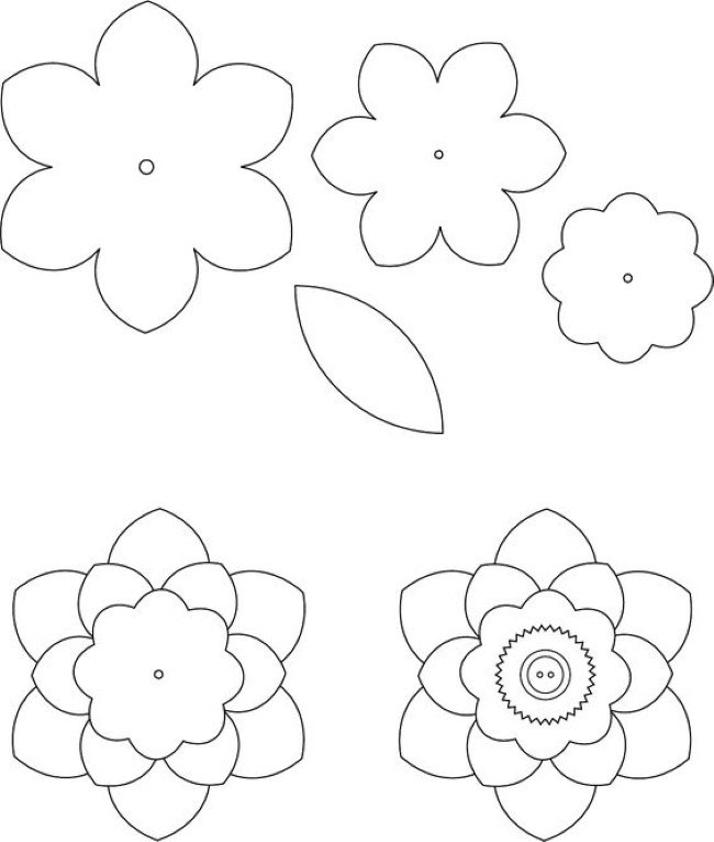 Large Flower Template Printable Flower Leaf Template Paper