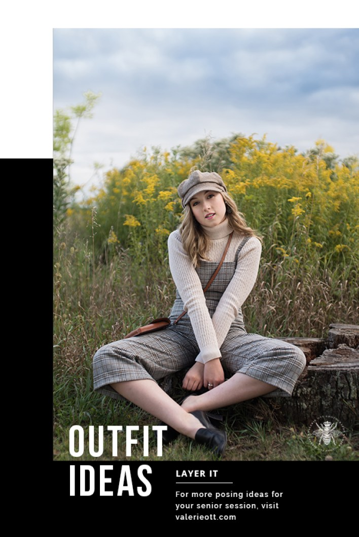 senior pics outfit ideas senior girl poses in hat and overalls in field