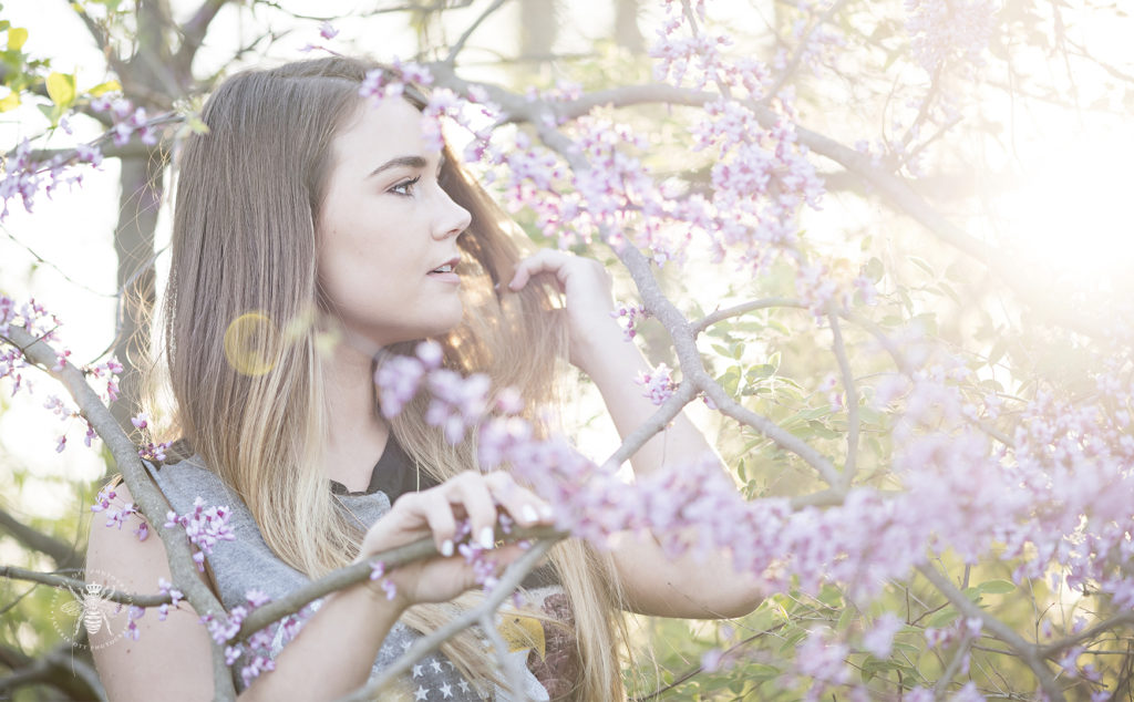 girl poses among the blossoming redbuds with the sun behind her in west michigan spring