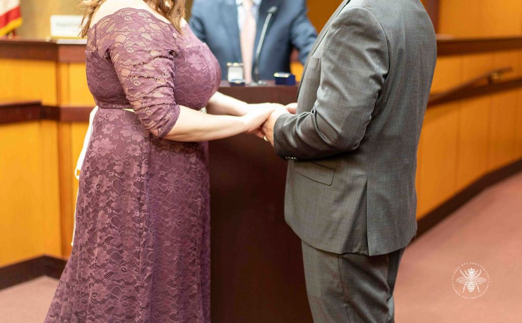 Courthouse wedding in Kalamazoo, Michigan. Couple holds hands during the courtroom ceremony.
