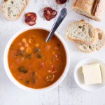 Chorizo soup with chickpeas