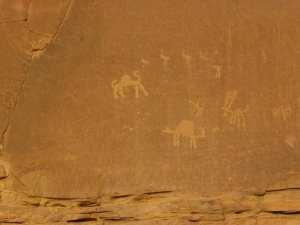 Ancient drawings in Wadi Rum