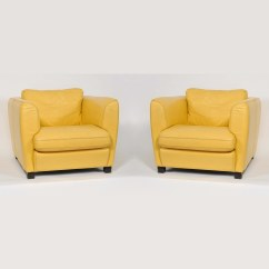 Yellow Club Chair Ikea Swivel Egg Pair Of French 1960 39s Creamy Leather Chairs