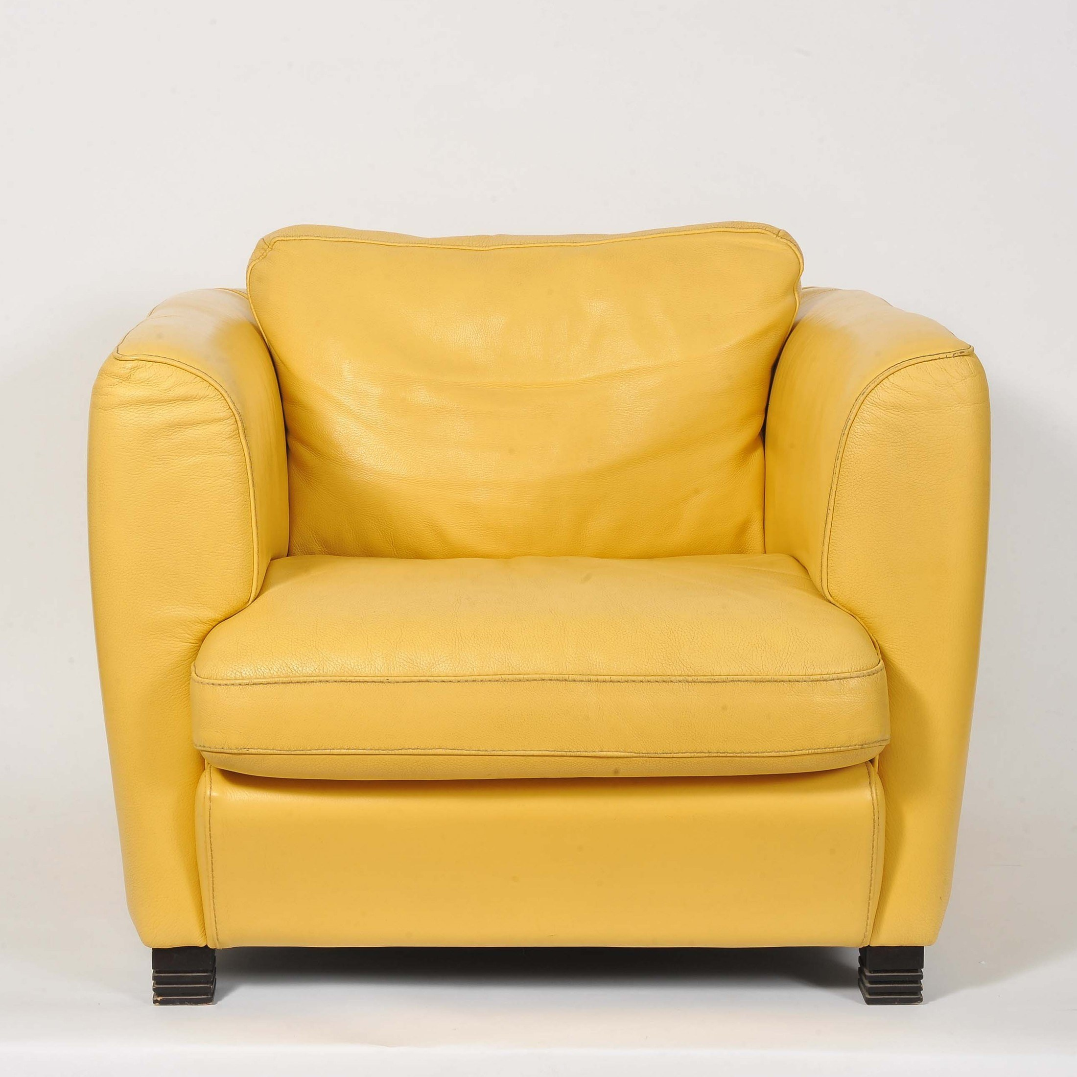 yellow club chair arm protectors uk pair of french 1960 39s creamy leather chairs