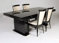 Black lacquer dining table by Dominique (a.Domin-m ...