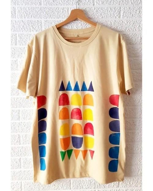 Camisetas de algodon multicolor 2 _ Hand printed organic cotton t-shirts