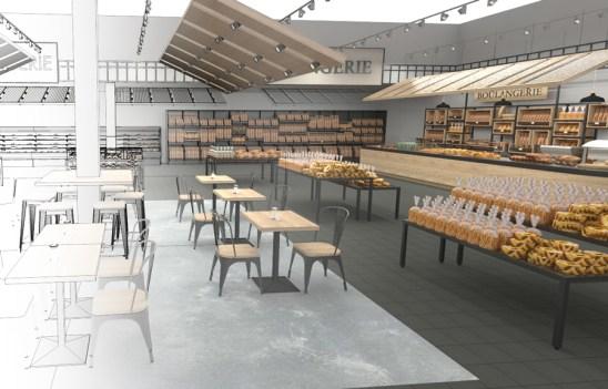Etude d'aménagement d'espace Boulangerie Viennoiserie Pâtisserie en grandes surfaces.