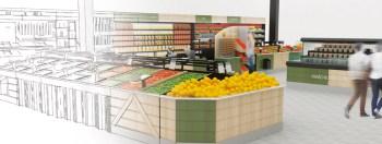 Étude d'agencement pour espace fruits et légumes et produits associés.