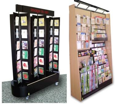 Présentoir de CARTERIE pour carte postales de vœux et sacs cadeaux – Fabrication Conception optimisation VALIN
