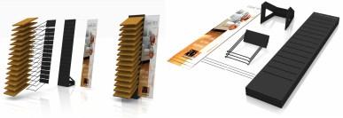 Presentoir de gammes de parquets pour PLF - Etude Conception et Fabrication VALIN