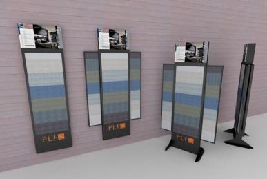 Presentoir modulable et mobile de gammes de parquets pour PLF - Etude conception et fabrication VALIN