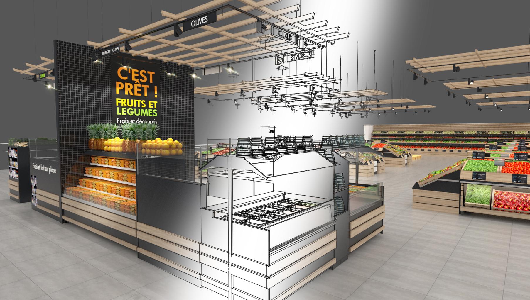 Etude d'un aménagement pour un espace de vente de fruits et légume pour une GSA