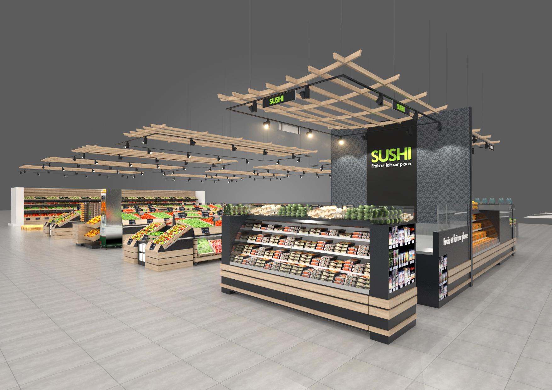 Conception d'aménagement d'un espace de vente pour un secteur fruit legumes et sushi pour une GMS - Valin fabricant - Libourne