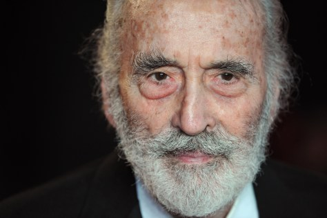 British actor Christopher Lee arrives on the red carpet to attend the royal world premiere of the new James Bond film 'Skyfall' at the Royal Albert Hall in London on October 23, 2012. AFP PHOTO / CARL COURT        (Photo credit should read CARL COURT/AFP/Getty Images)