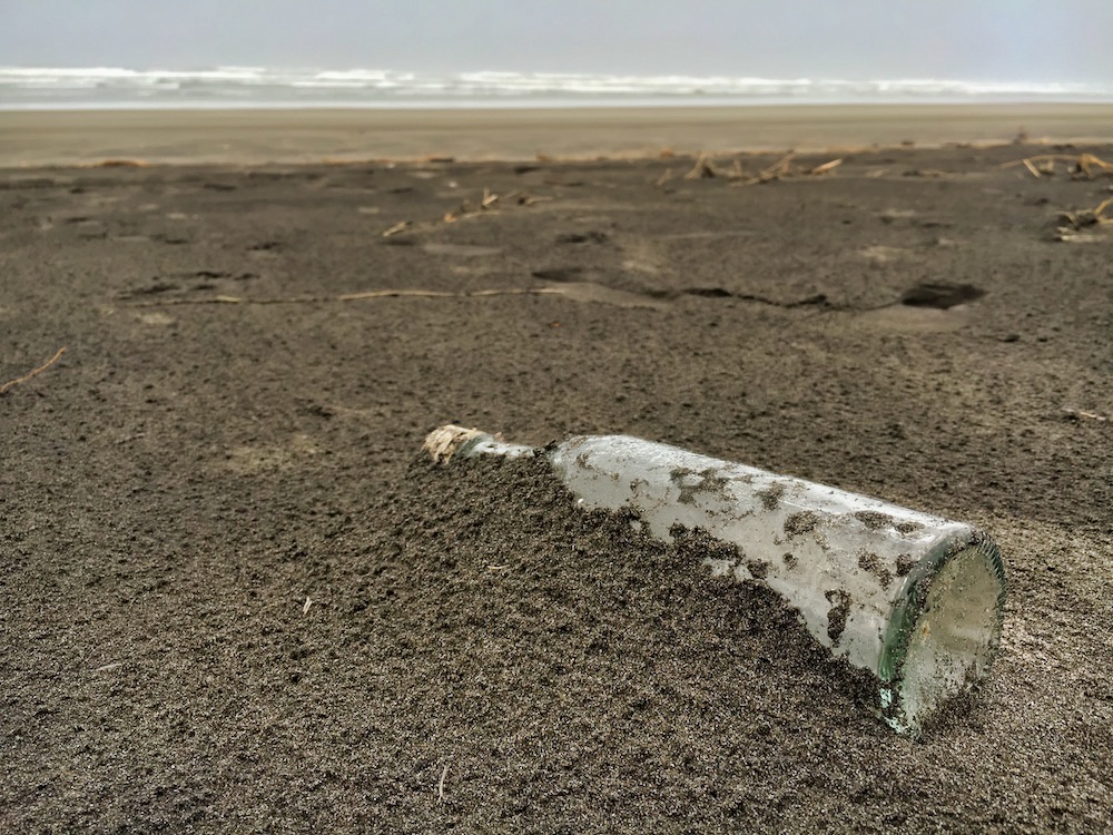 Long Beach, WA - Glass Bottle on the Beach
