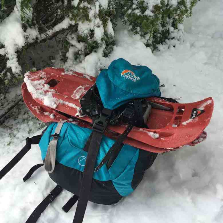 My trusty bag, and bright orange snowshoes!