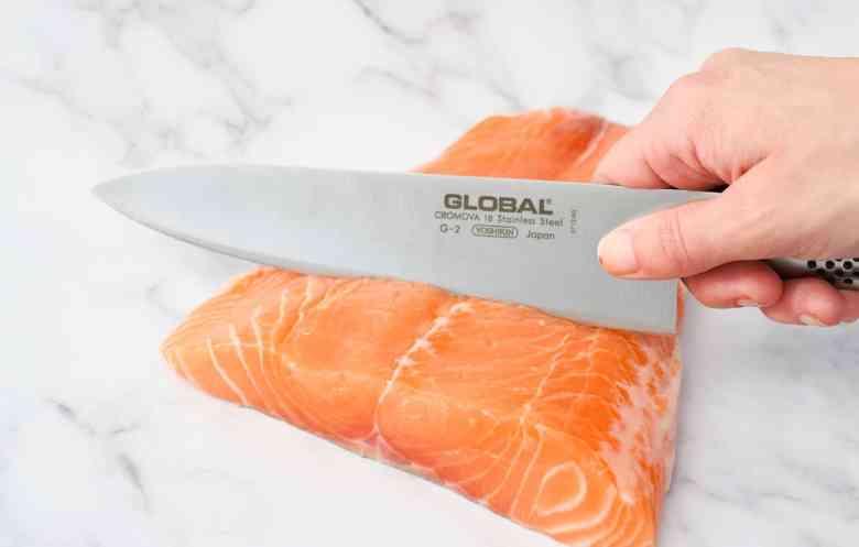 Alaskan Salmon Poke - Dicing Salmon