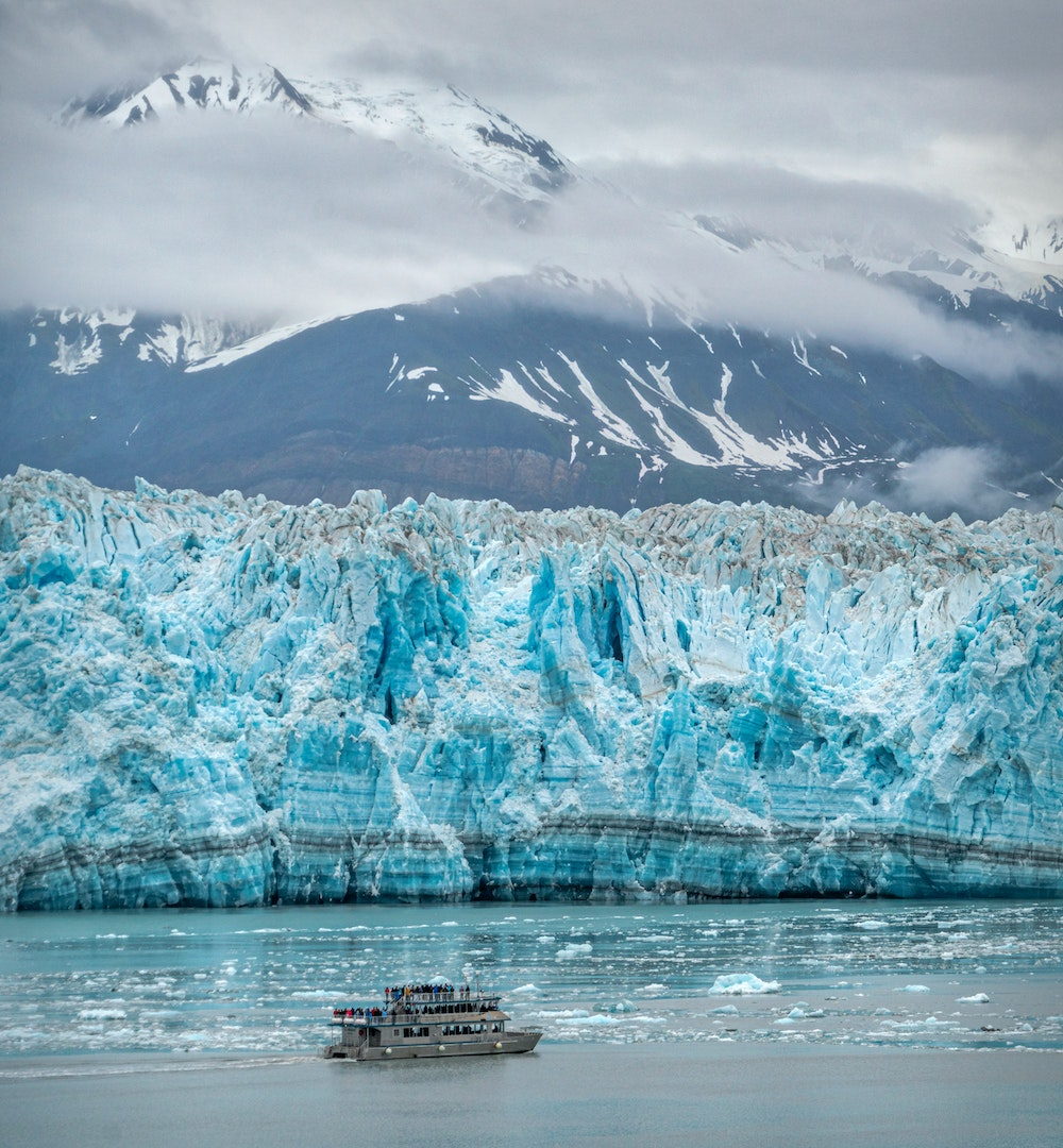 Best Binoculars for Alaska Cruise - Cruise Ship in front of Glacier