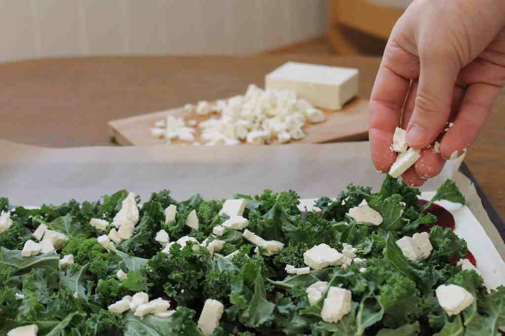 Kale, beet and feta pizza