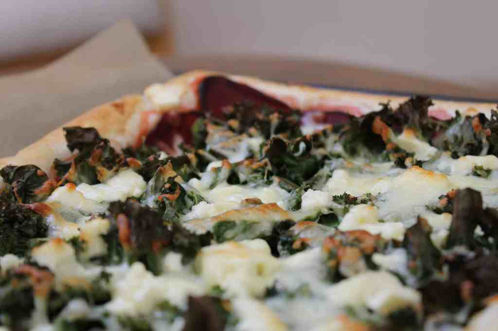Pizza with beet, kale & goat feta cheese
