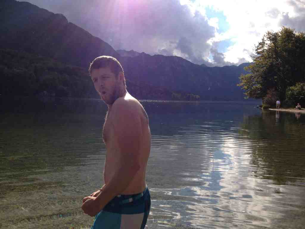 Swimming in Lake Bohinj Slovenia