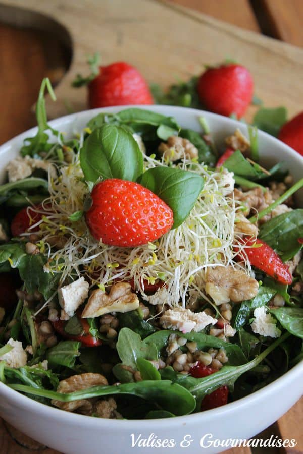 Roasted buckwheat and fresh strawberry salad with tofu feta, vegan
