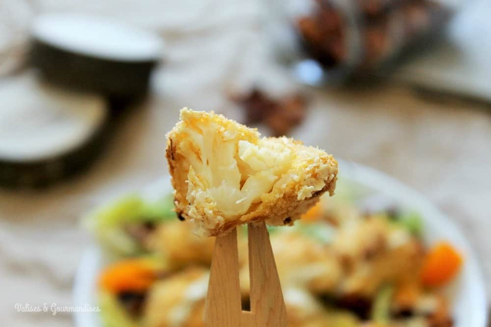 Oven-baked tempura cauliflower on Caesar salad