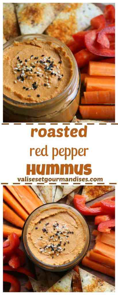Easy vegan roasted red pepper hummus - Valises & Gourmandises