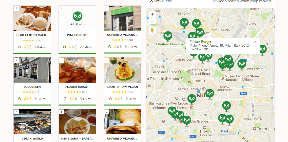 Map of vegan restaurants in Milan, Happy Cow