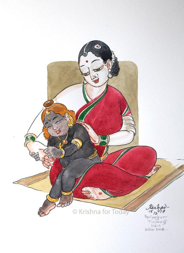 171215 -Periyazhwar Tirumozhi 1-6-1 Uyya Ulagu-lr -watercolour - 24x32cms