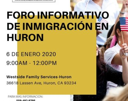 Foro Informativo de Inmigración en Huron 6 Enero 2020 CVIIC